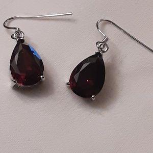 Blood Red Synthetic Garnet Earrings